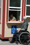 Sani-Hut concession building wheelchair accessible window